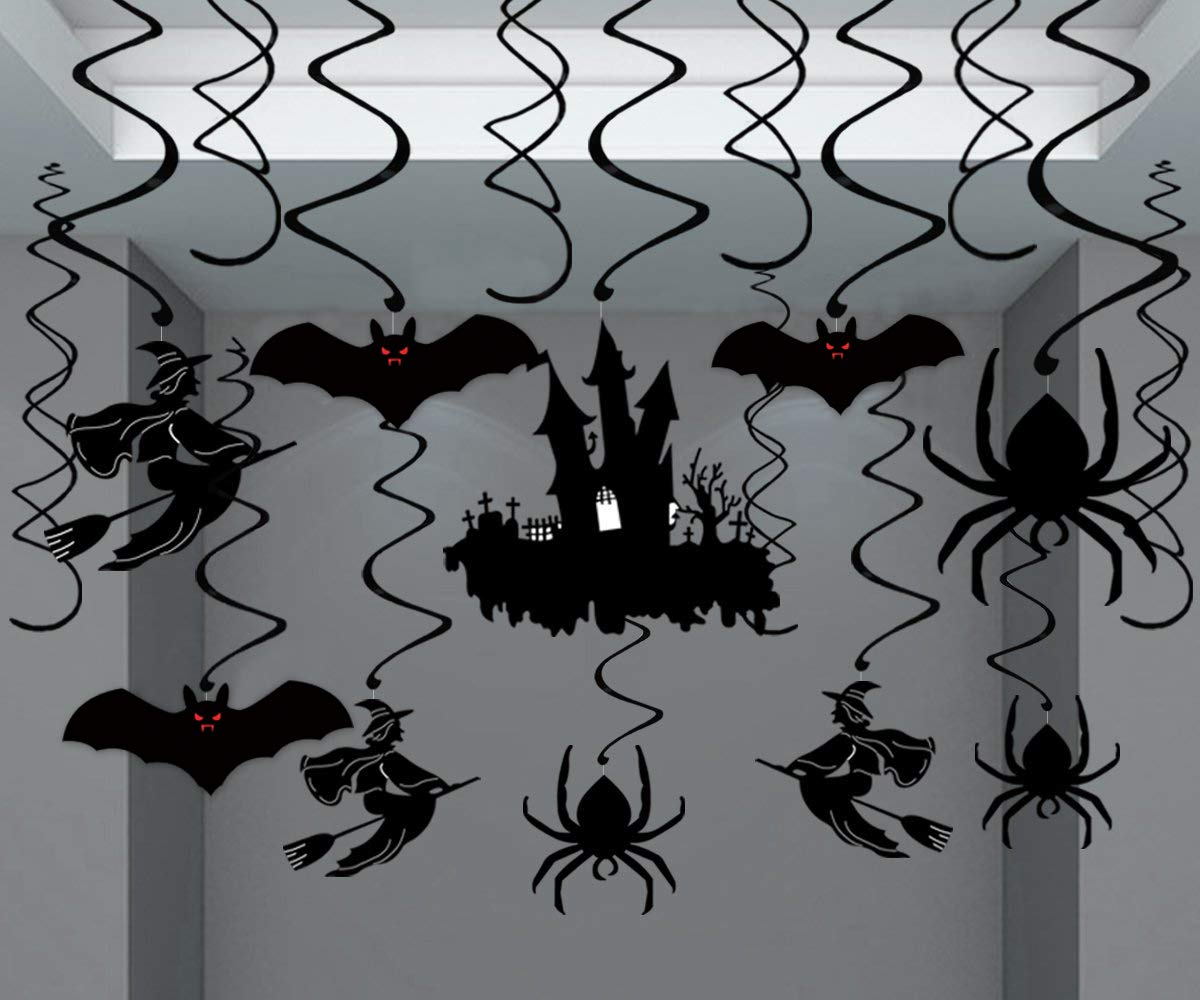 Moon Boat 30Ct Halloween Haunted House Hanging Swirl Yard Party Decorations - Creepy Bats/ Spiders/ Witch Ceiling Supplies