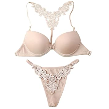 1f6bfaaf8649d WELVT Women s Front Closure Sexy Lingerie Bra Thong Panty G-string Sets  Nude 32