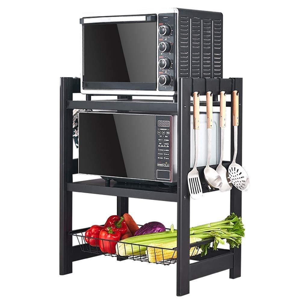 3段収納フロアスタンドキッチン棚用万能フックと野菜果物収納バスケットラックキッチンフロア(各階最大荷重40kg)   B07R659GDB