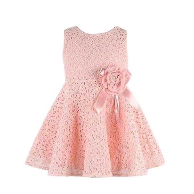 373d59dd5 Beikoard - Conjunto de niña de 0 a 7 años - Vestido de una pieza con encaje  y estampado de flores PK A