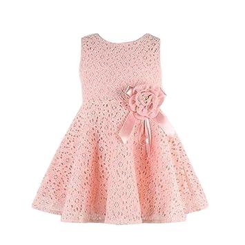 Beikoard - Conjunto de niña de 0 a 7 años - Vestido de una pieza con encaje y estampado de flores PK A: Amazon.es: Ropa y accesorios