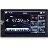 Double Din 7 Inch Touch Screen In-Dash Car Audio Bluetooth Stereo MP3 MP5 Video Player FM Radio TF USB AUX-in Rear View Camera with Remote Control