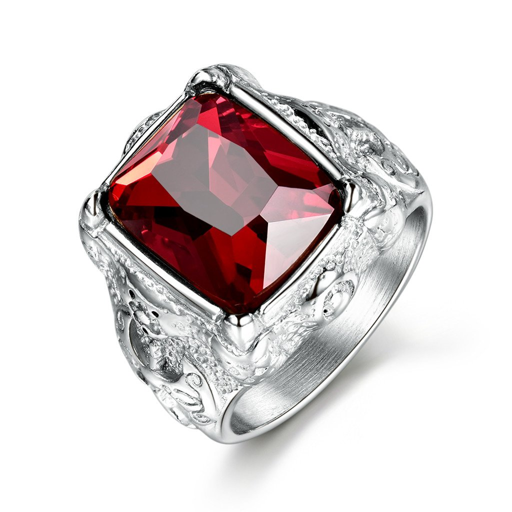 MASOP Classic Anti Allergic Stainless Steel Wedding Bands Rings for Men Red Crystal Engagement Ring