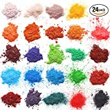 Mica powder for bath bombs - Soap dye for Soap Coloring - Soap Making Colorants Set - 0.1 oz 24 bags - Candle Making - Blush - Eye Shadow - Craft Projects - Nail Art - Resin Jewelry