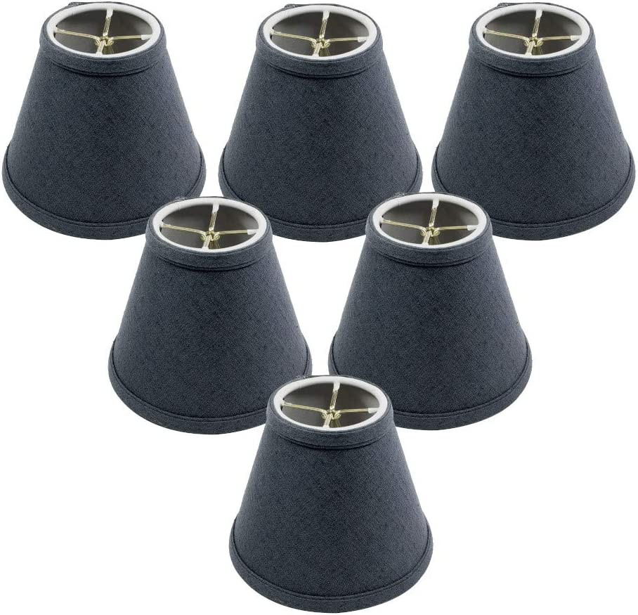 Set of 6 Textured Slate Blue Chandelier Lamp Shade 3x6x5