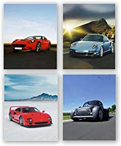 Sports Car Poster Prints,Exotic Car Wall Art Suitable for Boys' bedrooms, Living Rooms and Offices, Set of 4 (Frameless,8X 10 in)