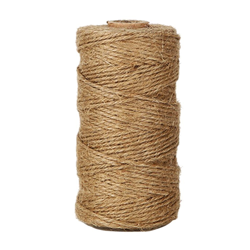 Tenn Well Natural Jute Twine 2Ply 328 Feet Arts and Crafts Jute Rope Industrial Packing Materials Packing String For DIY Crafts, Christmas Decoration and Gardening Applications