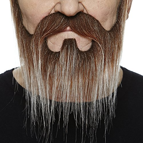 Nomad brown with gray fake beard and mustache, self (Realistic Costumes)