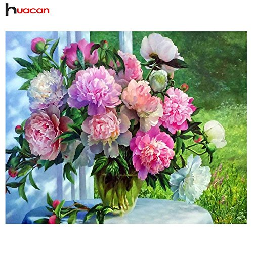 HuaCan Diamond Painting DIY 5D Full Square Drill Crystal Rhinestone by Number Kits Embroidery Pictures Arts Craft for Home Wall Decor Flowers 45x60cm