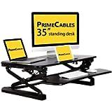 PrimeCables Height Adjustable 35' Wide Platform Standing Desk - Sit to Stand Gas Spring Structure Desk Riser Fits Dual…