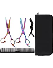 Lictin Hairdressing Scissors Hair Thinning Scissors Set and Hair Scissors, 6.0 inch + Presentation Case/Box + Black Comb +Black Hair clip