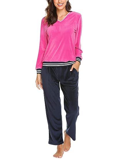 7d1527f6fca22 MAXMODA Femme Grandes Tailles Ensemble Pyjama en Velours Vêtements de Nuit  pour Toutes Les Saisons Bleu