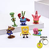 FunnyToy Spongebob Action Toys – 6-Piece Set Spongebob Squarepants Figurines – Collectible Cake Topper Mini-Figurines – Non-Toxic and Safe – Ideal for Kids, Birthday, Party Favors