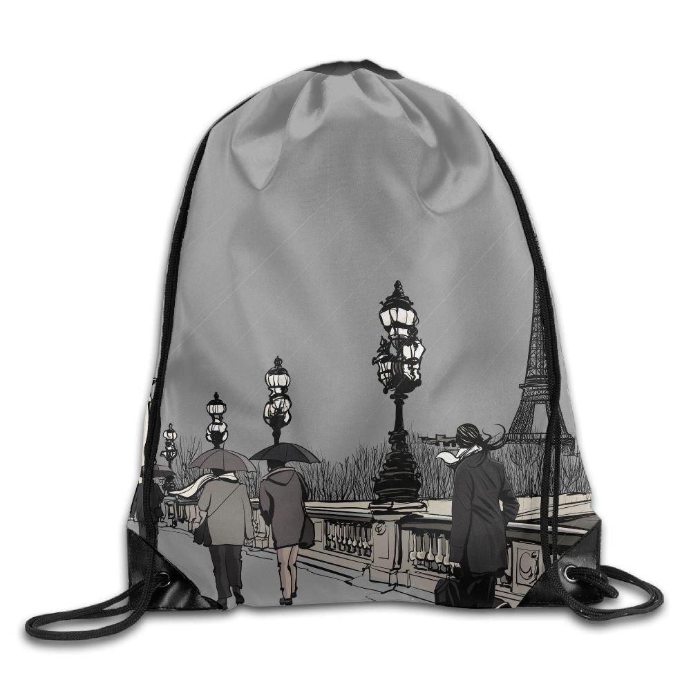 Allan J Beasley Folding Sport Backpack Casual Daypacks for Team Group Men Women Paris Street Eiffel, Grey
