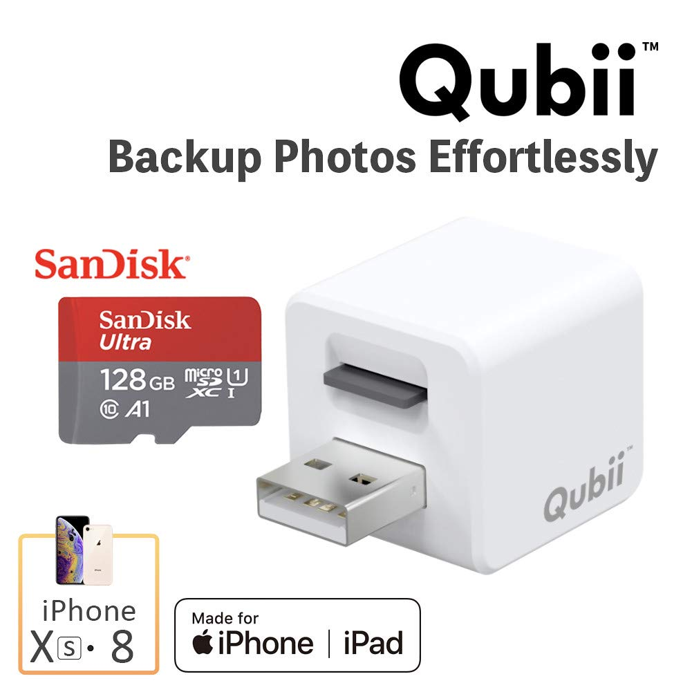 Flash Drive for iPhone, Auto Backup Photos & Videos, Photo Stick for iPhone, Qubii Photo Storage Device for iPhone & iPad【128GB - White】
