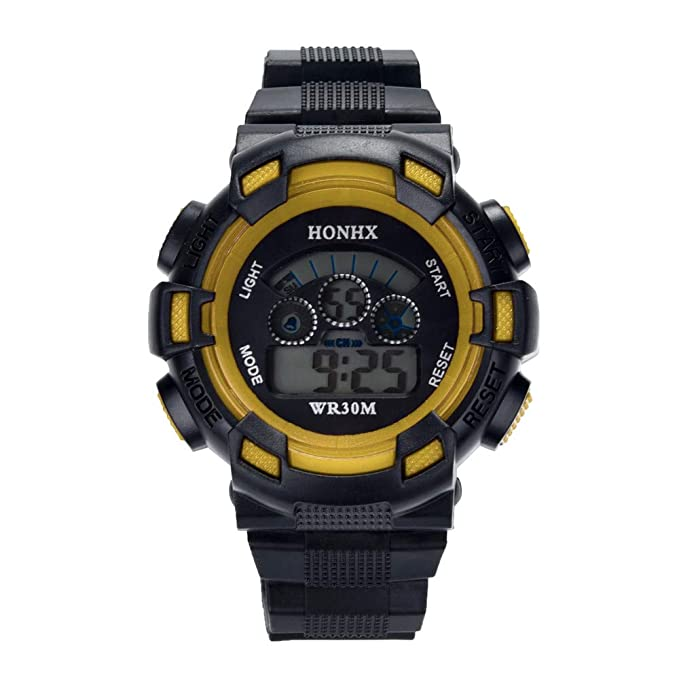 Bestow Ni?os a Prueba de Agua Boys Digital LED Reloj Deportivo HONHX Electronic Watch Fecha de Alarma Reloj de Regalo(Amarillo): Amazon.es: Ropa y ...