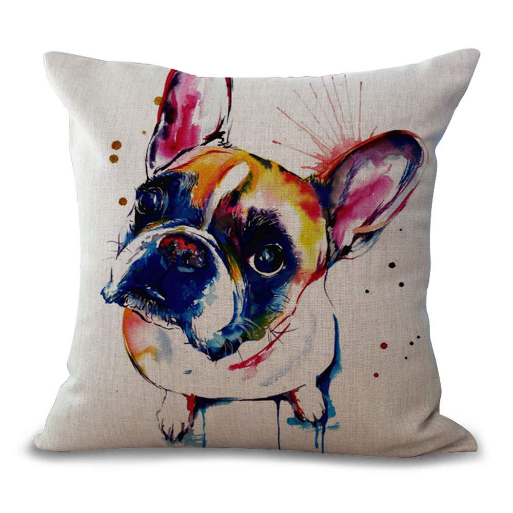 JUNMAONO Fundas de Cojin Fundas de Almohada Cuadrada Decoración del Hogar Pillow Cover Pintura al óleo Bulldog Francés Pillowcase para Sofá Cama ...