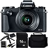 Canon PowerShot G1 X Mark III - 6PC Accessory Bundle Includes 16GB SD Memory Card + Memory Card Wallet + Ultimaxx 6.5 Tabletop Pistol Grip Tripod + Medium Carrying Case + Micro HDMI Cable + MORE