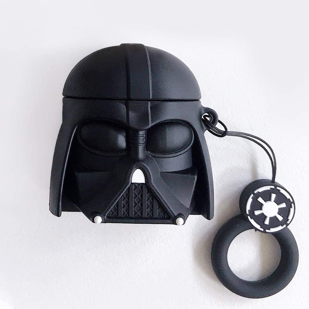 MOXUEOR, Starwars Airpods Case | Cool Airpod Case for Apple airpods 1/2, 3D Silicone Cover Man's Gift Best Choose to Your Lover- Knight Black
