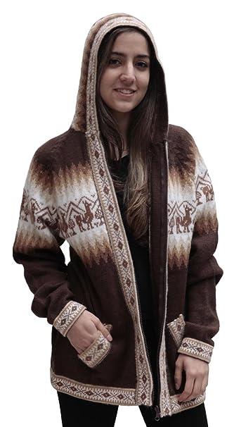 Amazon.com: Little Llamas lana de alpaca chamarra de punto ...