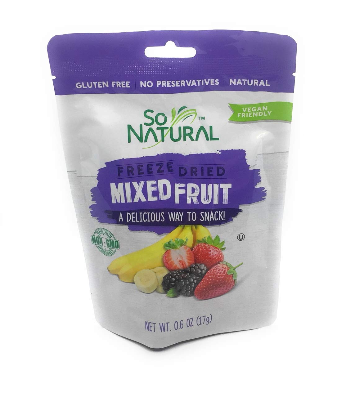 SO NATURAL FREEZED FRIED Mixed Fruit ( Banana, Mulberry, Strawberries ) 3 Packs.071 oz each