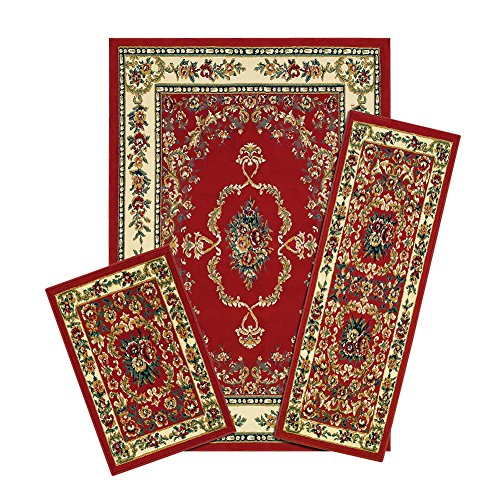 Collections Savonnerie Red Floral Victorian Rugs - Set of 3