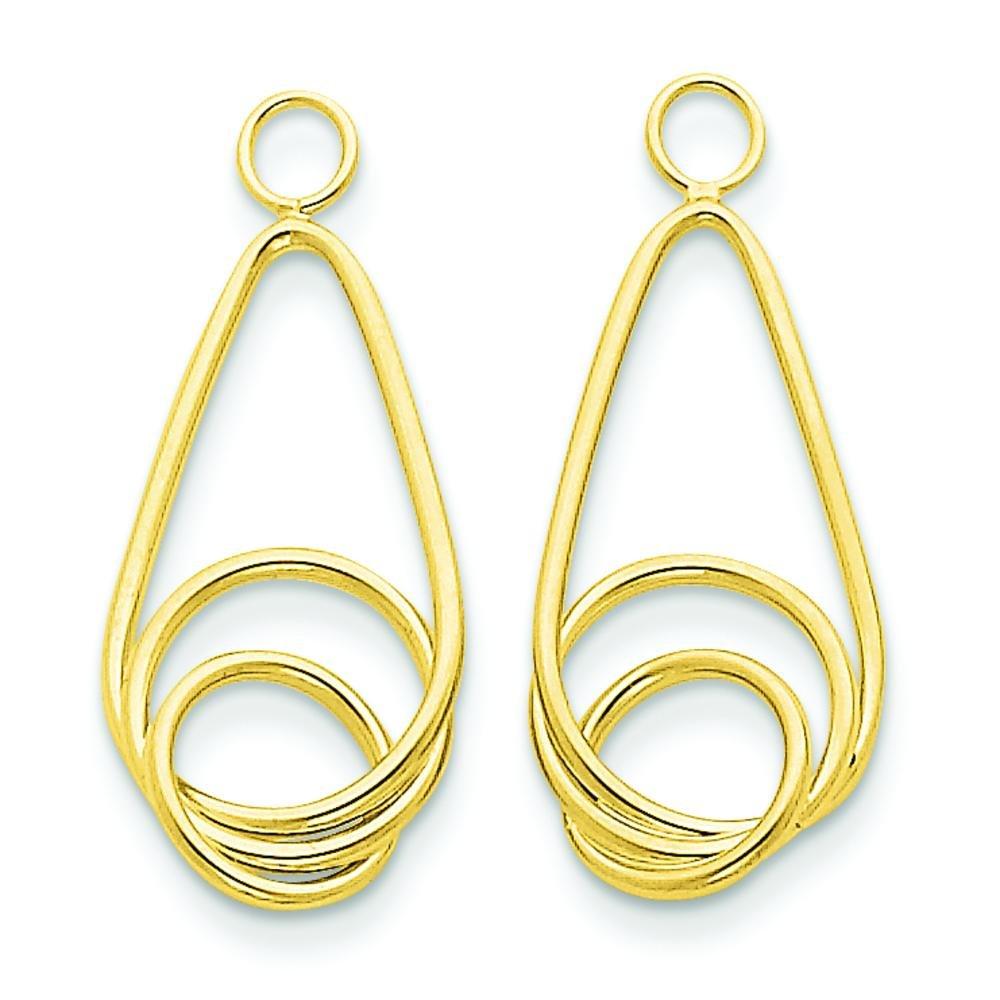 14K Gold Fancy Teardrop Earring Jackets Jewelry