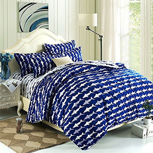 Hxiang Blue 3pcs Ocean Shark Design Kids Duvet Cover Sets,Queen Twin Size Shark Children Bedspreads,Cotton & microfibe (Blue, Full/Queen)
