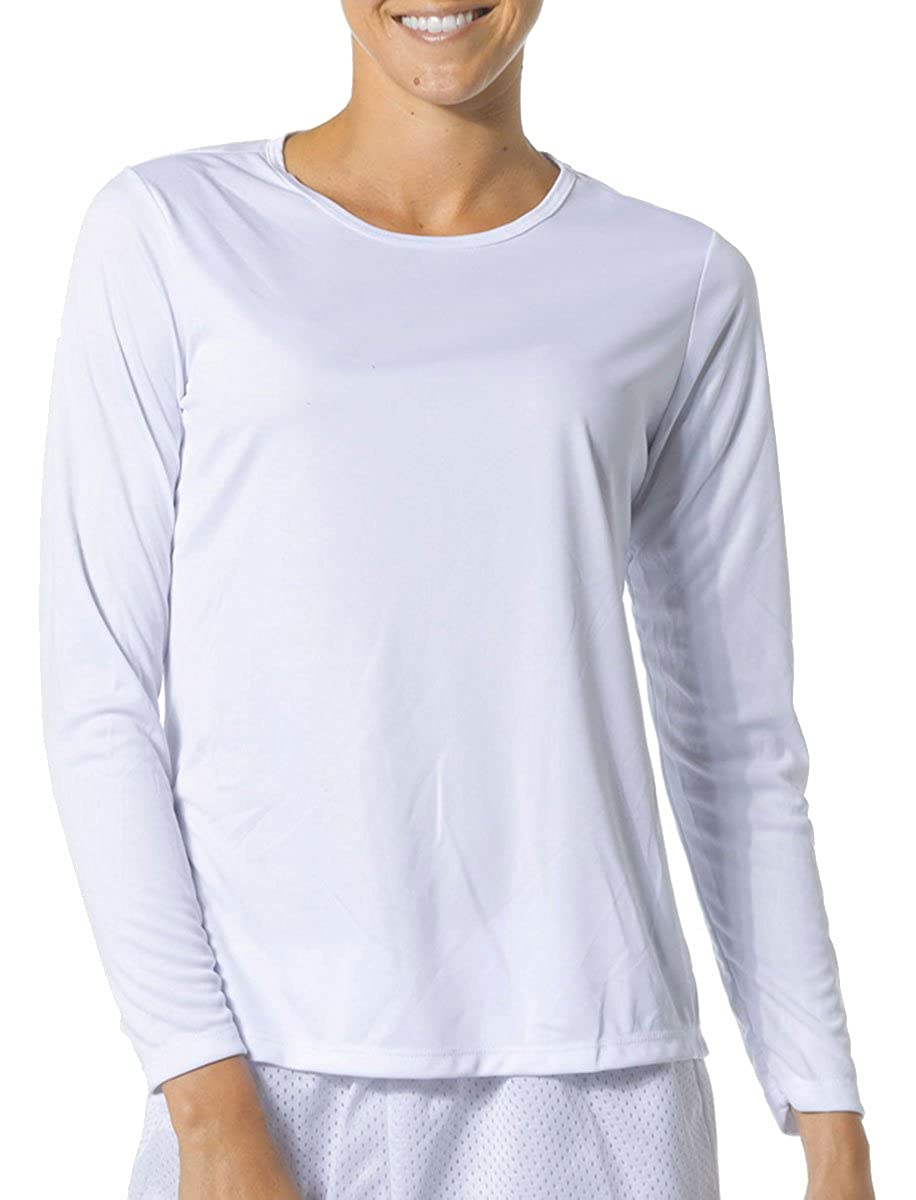 A4 Womens Long Sleeve Cooling Performance Crew Shirt (NW3002) WHITE
