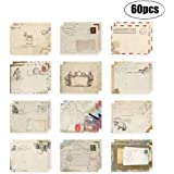 60Pcs Greeting Card Envelopes, Cute Retro Lovely Vintage Special Mini Envelope for Christmas, Wedding, Birthday Party (12 Different disign)