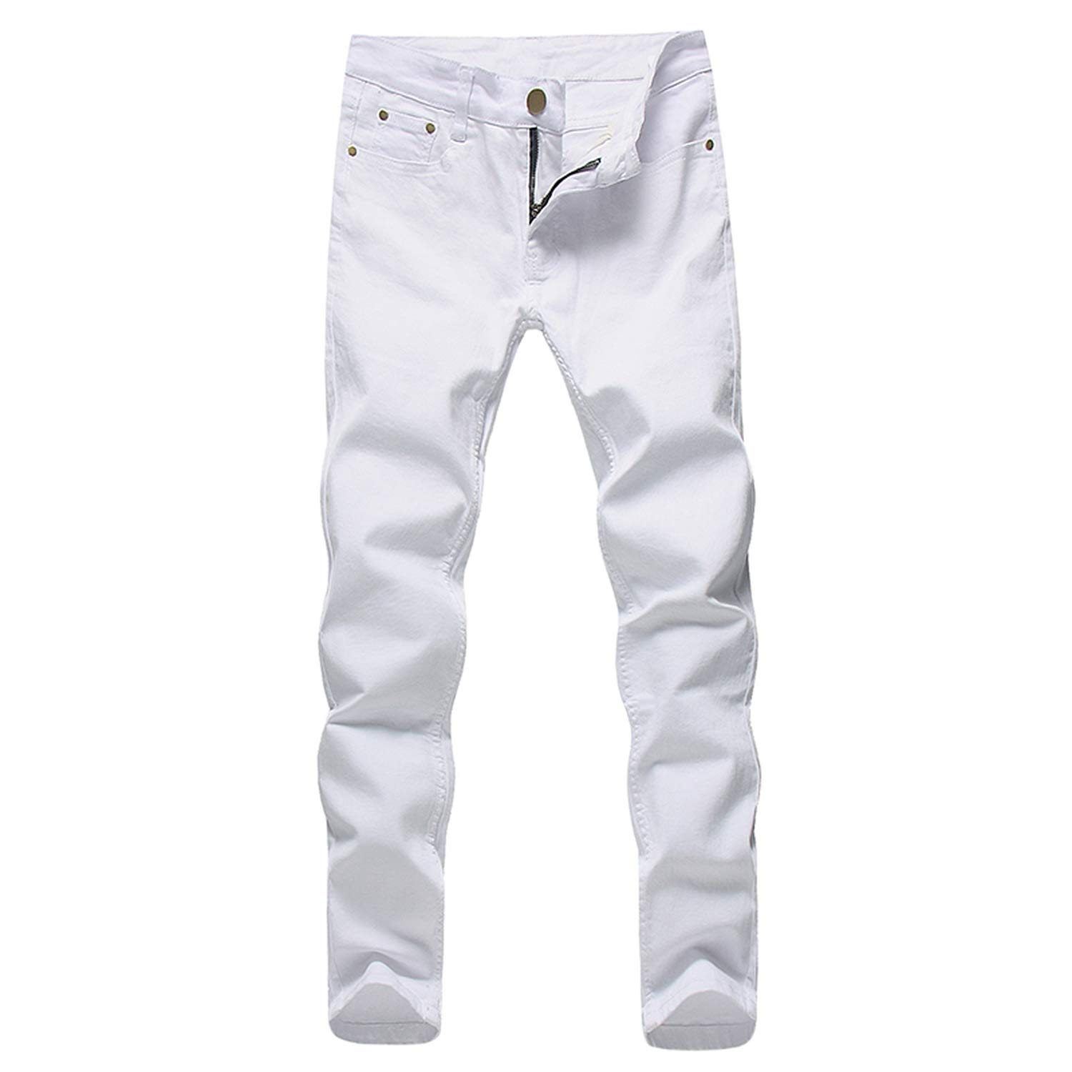 Nutsima Men Stretch Jeans Fashion White Denim Trousers for Male Spring and Autumn Retro Pants Casual Mens Jeans Size 27-36