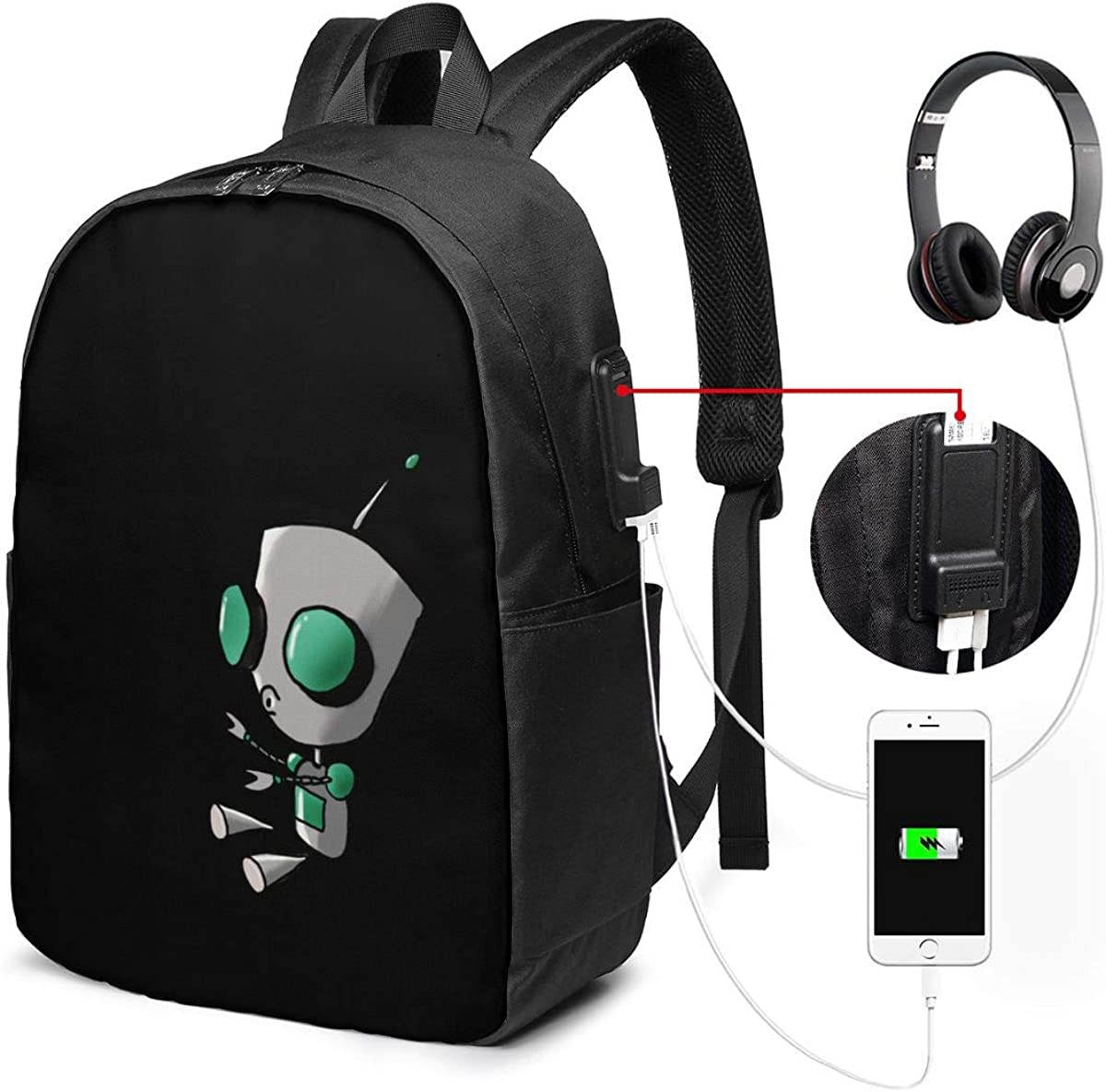 Invader Zim Gir Doom USB Backpack Carry On Bags 17 Inches Laptop Backpack for Travel School Business