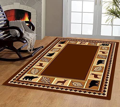 Furnishmyplace 3 Piece Area Rug Set Transitional Modern Floral Oriental Geometric Bear Moose Carpet Brown Bear Moose Rug Set