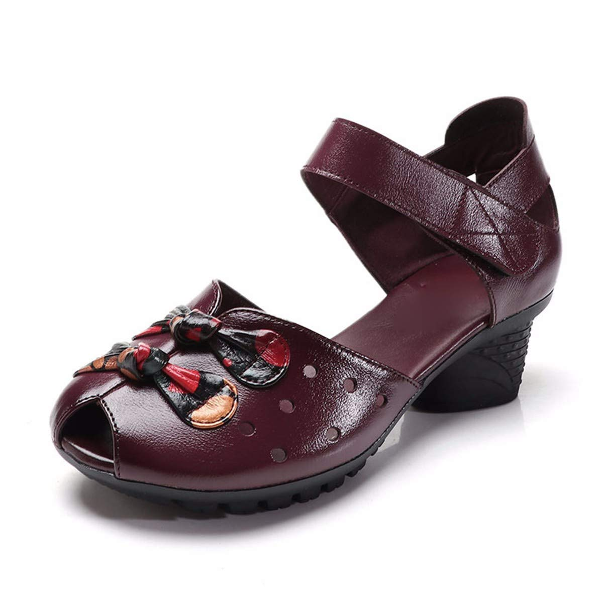 GTVERNH Damenschuhe/Mode/Square Dance Mittleren Alters und Alte Mütter Höhle Schuhe Sommer Folk - Leder Frauen - Sandaleen.