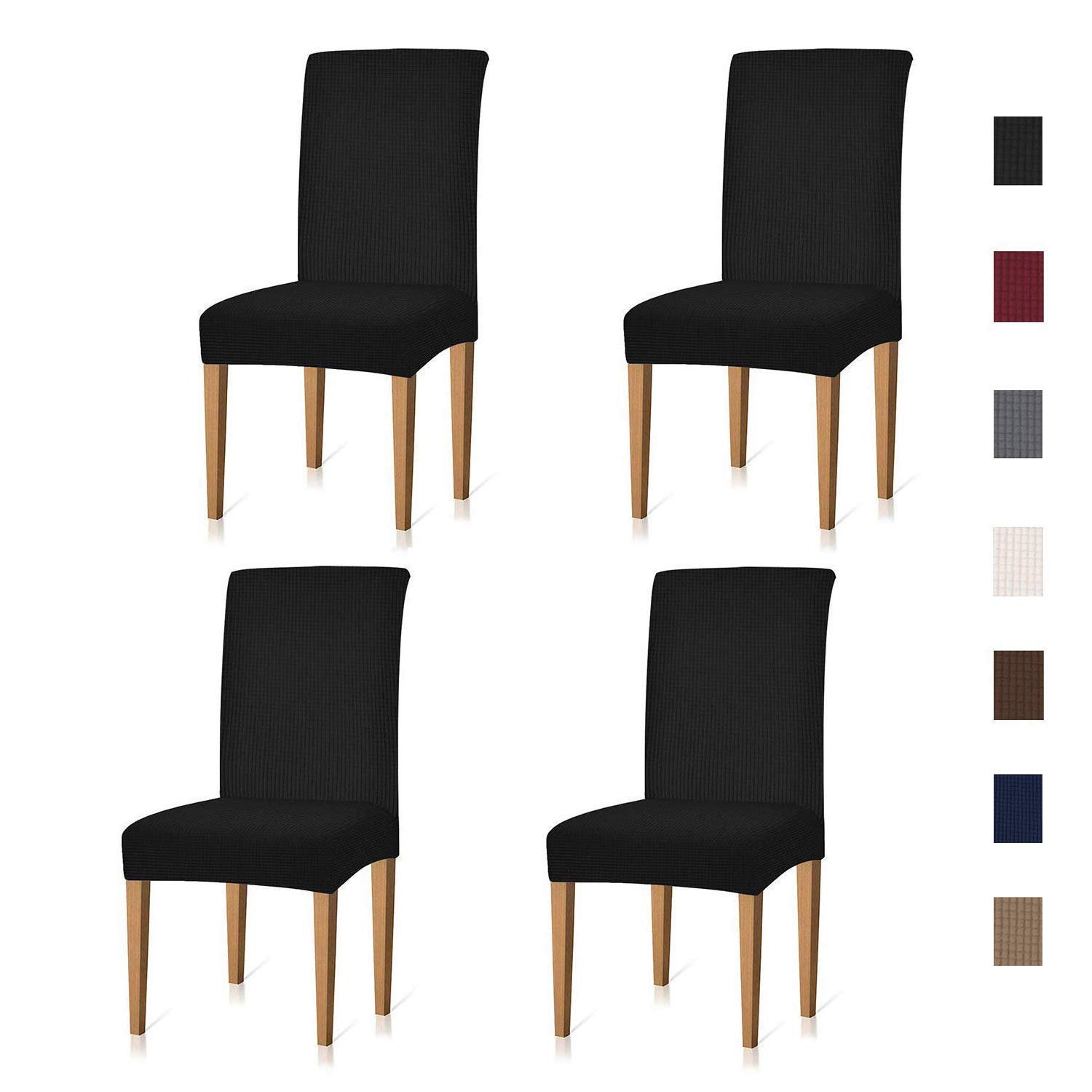 Xflyee Stretch Dining Room Chair Covers Jacquard Removable Washable Kitchen  Parson Chair Slipcovers Set of 4 (Black, 4 Pack)