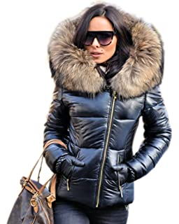 b047809bf84c10 Aofur New Ladies Quilted Padded Puffer Bubble Fur Collar Warm Thick Womens  Jacket Coat Black