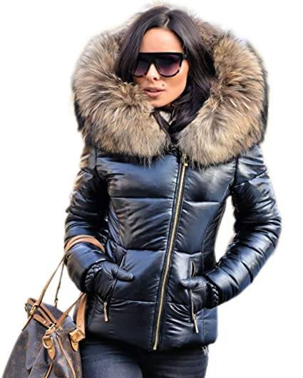 86249279ba4 Aofur New Ladies Quilted Padded Puffer Bubble Fur Collar Warm Thick Womens  Jacket Coat Black (