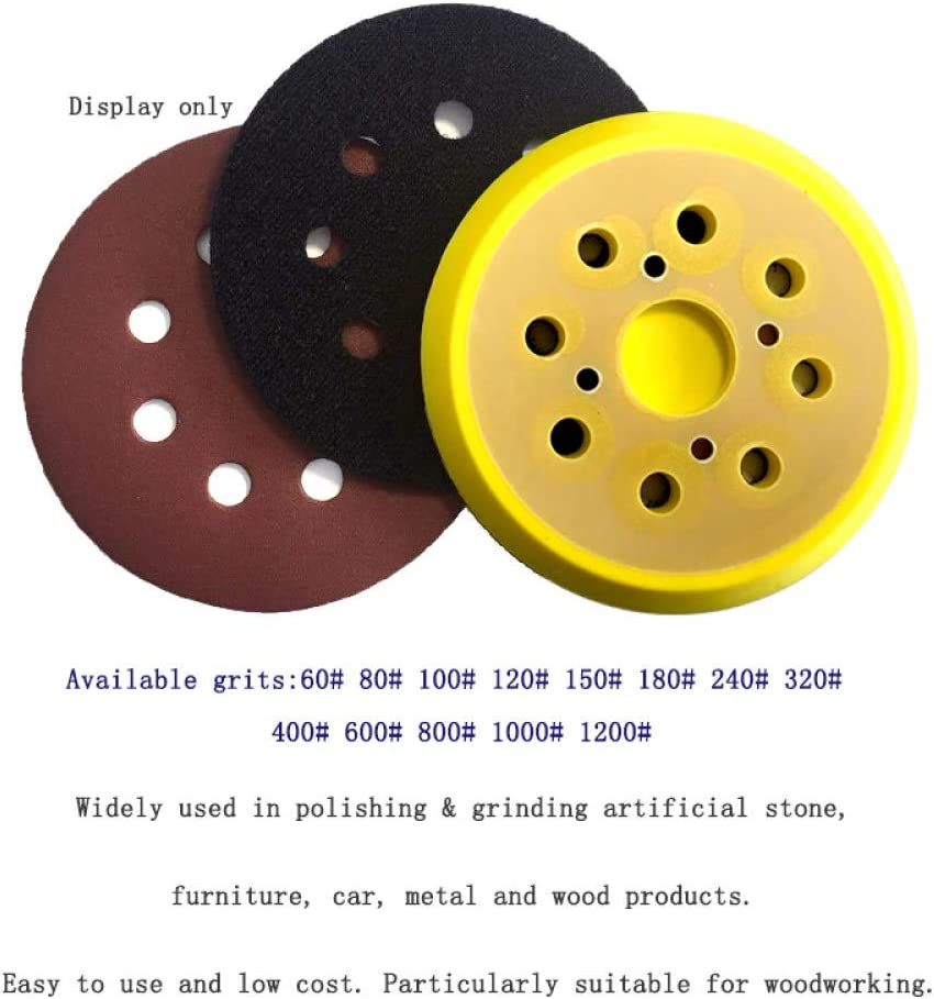 LCDIEB Sandpaper 100PCS 5 Inch 125MM 8-Hole Aluminum Oxide Red Sandpaper Sanding Discs 60 to 2000 Grits,150 1000