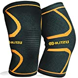 Blitzu Flex Plus Compression Knee Brace for Joint Pain, Meniscus Tear, ACL, MCL and Arthritis Relief, Improve Circulation Support for Running, Gym Workout, Recovery Best Sleeves Patella Stabilizer Pad