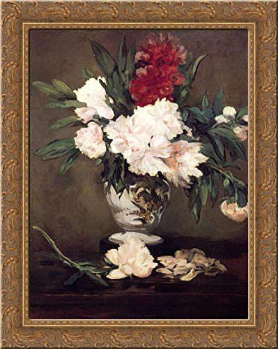 Vase of Peonies on a Small Pedestal 20x24 Gold Ornate Wood Framed Canvas Art by Manet, Edouard