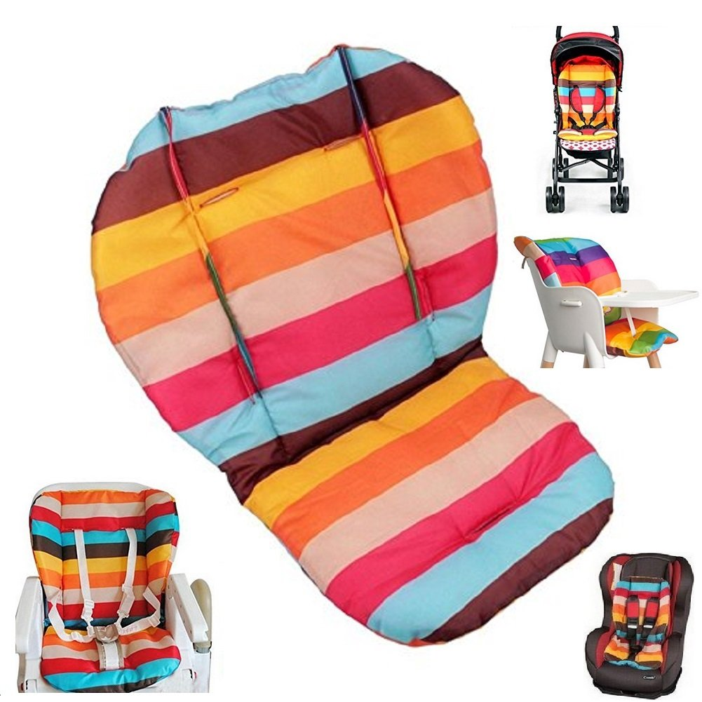 Twoworld Baby Stroller/Car/High Chair Seat Cushion Liner Mat Pad Cover Protector Rainbow Striped Breathable Water Resistant