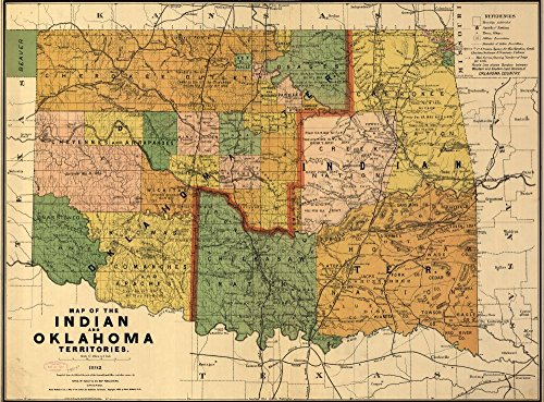 Vintage 1892 Map of the Indian and Oklahoma territories. Oklahoma, United States ()