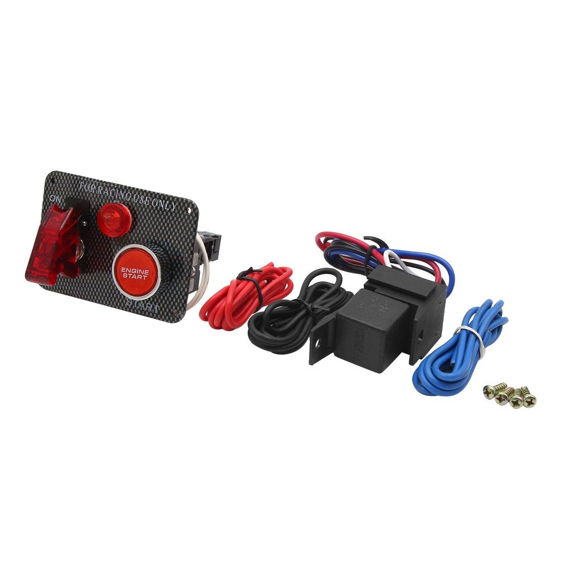 uxcell DC 12V Car Carbon Fiber Pattren Ignition Switch Panel Engine Start Push Button
