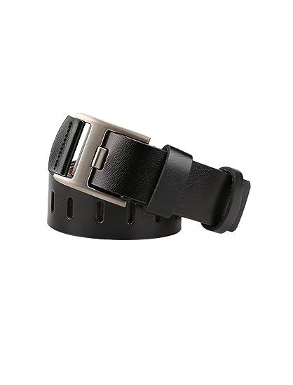 uxcell Men Classical PU Dress Belt Metal Pin Buckle Adjustable with Loop Width 38mm