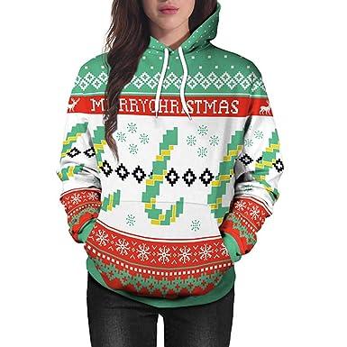 Limsea Lovers Christmas Santa Claus Print Long Sleeves Caps Tops  Sweatshirts at Amazon Women s Clothing store  945f7375b