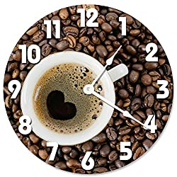 Large 10.5 Wall Clock Decorative Round Wall Clock Home Decor Novelty HEART SHAPED COFFEE CUP