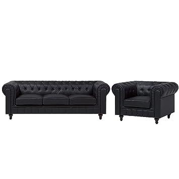 Beliani Conjunto de sofás en Piel sintética Negro para 4 ...