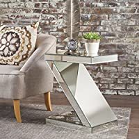 Adu Mirrored Z Shaped Side Table