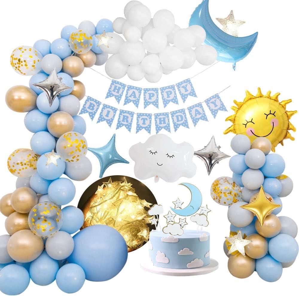 globo de papel de nubes de sol y luna Decoraci/ón de globos de fiesta con pancarta de feliz cumplea/ños globo de estrellas para la cumplea/ños MMTX Decoraciones De Fiesta De Cumplea/ños Ni/ños Ni/ñas