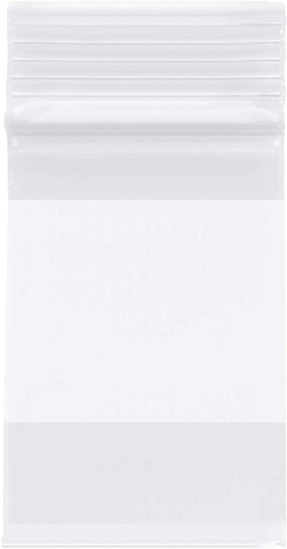 "Plymor Heavy Duty Plastic Reclosable Zipper Bags w/White Block, 4 Mil, 2"" x 3"" (Pack of 100)"